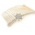 Hair Jewelry Crystal Rhinestone Pearl Flower Metal Hair Pin Comb Clip - White