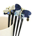 Hair Jewelry Crystal Rhinestone Sequins Butterfly Hair Pin Comb Clip - Blue