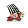 Hair Jewelry Crystal Rhinestone Sequins Butterfly Hair Pin Comb Clip - Red