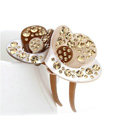 Hair Jewelry Crystal Rhinestone lotus Flower Hair Pin Comb Clip - Champagne
