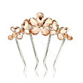 Hair Jewelry Rhinestone Crystal Butterfly Flower Metal Hairpin Clip Comb Pin - Champagne