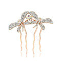 Hair Jewelry Rhinestone Crystal Butterfly Metal Hair Pin Clip Comb - White