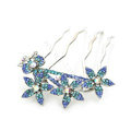 Hair Jewelry Rhinestone Crystal Flower Metal Hairpin Clip Comb Pin - Blue