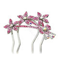 Hair Jewelry Rhinestone Crystal Flower Metal Hairpin Clip Comb Pin - Pink