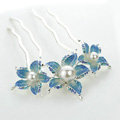 Hair Jewelry Rhinestone Crystal Flower Pearl Metal Hairpin Clip Comb Pin - Blue