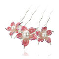 Hair Jewelry Rhinestone Crystal Flower Pearl Metal Hairpin Clip Comb Pin - Red