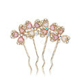 Hair Jewelry Rhinestone Crystal Flowers Metal Hair Pin Clip Comb - Multicolor