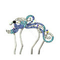 Hair Jewelry Rhinestone Crystal Phoenix Metal Hairpin Clip Comb Pin - Blue