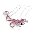 Hair Jewelry Rhinestone Crystal Phoenix Metal Hairpin Clip Comb Pin - Pink