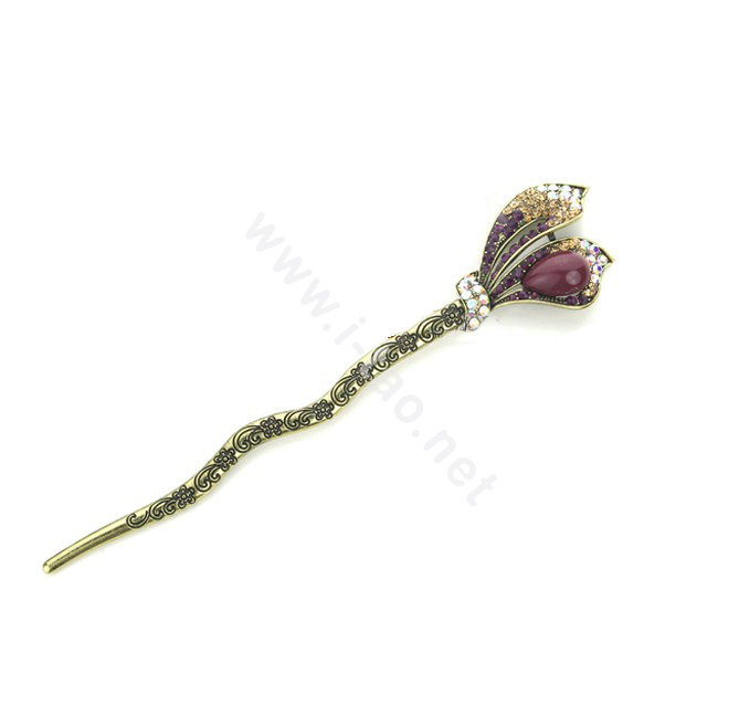 Buy Wholesale Lily flower Crystal Rhinestone Hairpin Hair Clasp Clip ...