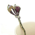 Lily flower Crystal Rhinestone Hairpin Hair Clasp Clip Fork Stick - Purple