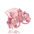 Luxury Hair Jewelry Crystal Rhinestone Butterfly Hair Pin Comb Clip - Pink