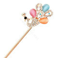 Peacock Rhinestone Crystal Hairpin Hair Clasp Clip Fork Stick - Multicolor