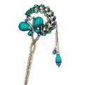 Retro Butterfly Crystal Rhinestone Hairpin Hair Clasp Clip Fork Stick - Blue