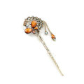 Retro Butterfly Crystal Rhinestone Hairpin Hair Clasp Clip Fork Stick - Coffee