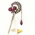 Retro Butterfly Crystal Rhinestone Hairpin Hair Clasp Clip Fork Stick - Purple