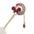 Retro Butterfly Crystal Rhinestone Hairpin Hair Clasp Clip Fork Stick - Red