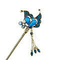 Retro Butterfly Tassel Crystal Rhinestone Hairpin Hair Clasp Clip Fork Stick - Blue
