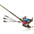 Retro Butterfly Tassel Crystal Rhinestone Hairpin Hair Clasp Clip Fork Stick - Multicolor