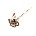 Retro Butterfly Tassel Rhinestone Crystal Hairpin Hair Clasp Clip Fork Stick - Coffee