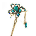 Retro Butterfly Tassel Rhinestone Crystal Hairpin Hair Clasp Clip Fork Stick - Green