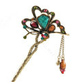 Retro Butterfly Tassel Rhinestone Crystal Hairpin Hair Clasp Clip Fork Stick - Multicolor