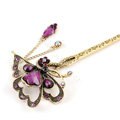 Retro Butterfly Tassel Rhinestone Crystal Hairpin Hair Clasp Clip Fork Stick - Purple