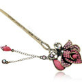 Retro Flower Crystal Rhinestone Hairpin Hair Clasp Clip Fork Stick - Rose