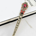 Retro Flower Pattern Crystal Rhinestone Hairpin Hair Clasp Clip Fork Stick - Red
