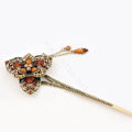 Retro Flower Tassel Rhinestone Crystal Hairpin Hair Clasp Clip Fork Stick - Coffee