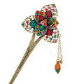 Retro Flower Tassel Rhinestone Crystal Hairpin Hair Clasp Clip Fork Stick - Multicolor