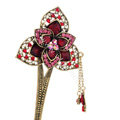 Retro Flower Tassel Rhinestone Crystal Hairpin Hair Clasp Clip Fork Stick - Red