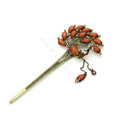 Retro Phoenix Crystal Rhinestone Hairpin Hair Clasp Clip Fork Stick - Champagne