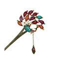 Retro Phoenix Crystal Rhinestone Hairpin Hair Clasp Clip Fork Stick - Multicolor