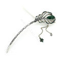 Tassel Feather Crystal Rhinestone Hairpin Hair Clasp Clip Fork Stick - Green
