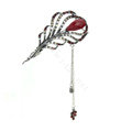 Tassel Feather Crystal Rhinestone Hairpin Hair Clasp Clip Fork Stick - Red