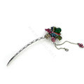 Tassel flower Crystal Rhinestone Hairpin Hair Clasp Clip Fork Stick - Multicolor