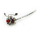 Tassel flower Crystal Rhinestone Hairpin Hair Clasp Clip Fork Stick - Red