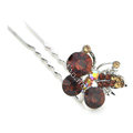 U Shape HairPin Crystal Rhinestone Butterfly Metal Hair Comb Clip Fork Stick - Brown