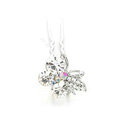 U Shape HairPin Crystal Rhinestone Butterfly Metal Hair Comb Clip Fork Stick - White