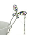 U Shape HairPin Crystal Rhinestone Butterfly Tassel Hair Comb Clip Fork Stick - Multicolor