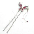 U Shape HairPin Crystal Rhinestone Butterfly Tassel Hair Comb Clip Fork Stick - Pink