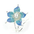 U Shape HairPin Crystal Rhinestone Flower Hair Comb Clip Fork Stick - Blue