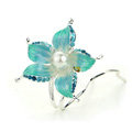 U Shape HairPin Crystal Rhinestone Flower Hair Comb Clip Fork Stick - Green