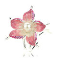U Shape HairPin Crystal Rhinestone Flower Hair Comb Clip Fork Stick - Pink