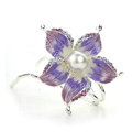 U Shape HairPin Crystal Rhinestone Flower Hair Comb Clip Fork Stick - Purple