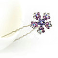 U Shape HairPin Crystal Rhinestone Flower Metal Hair Comb Clip Fork Stick - Purple