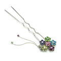 U Shape HairPin Crystal Rhinestone Flower Tassel Hair Comb Clip Fork Stick - Multicolor