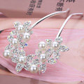 U Shape HairPin Crystal Rhinestone Pearl Flower Hair Comb Clip Fork Stick - White