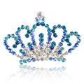 Alloy Crown Bride Hair Accessories Crystal Rhinestone Hair Pin Clip Combs - Blue